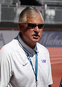 LSU Tigers coach Dennis Shaver at a training session  prior to the 45th Prefontaine Classic, Saturday, June 29, 2019, in Stanford,  Calif.