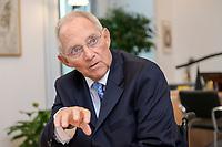 06 NOV 2019, BERLIN/GERMANY:<br /> Wolfgang Schaeuble, CDU, Bundestagspraesident, waehrend einem Interview, in seinem Buero, Reichstagsgebaeude, Deutscher Bundestag<br /> IMAGE: 20191106-02-020<br /> KEYWORDS: Wolfgang Schäuble