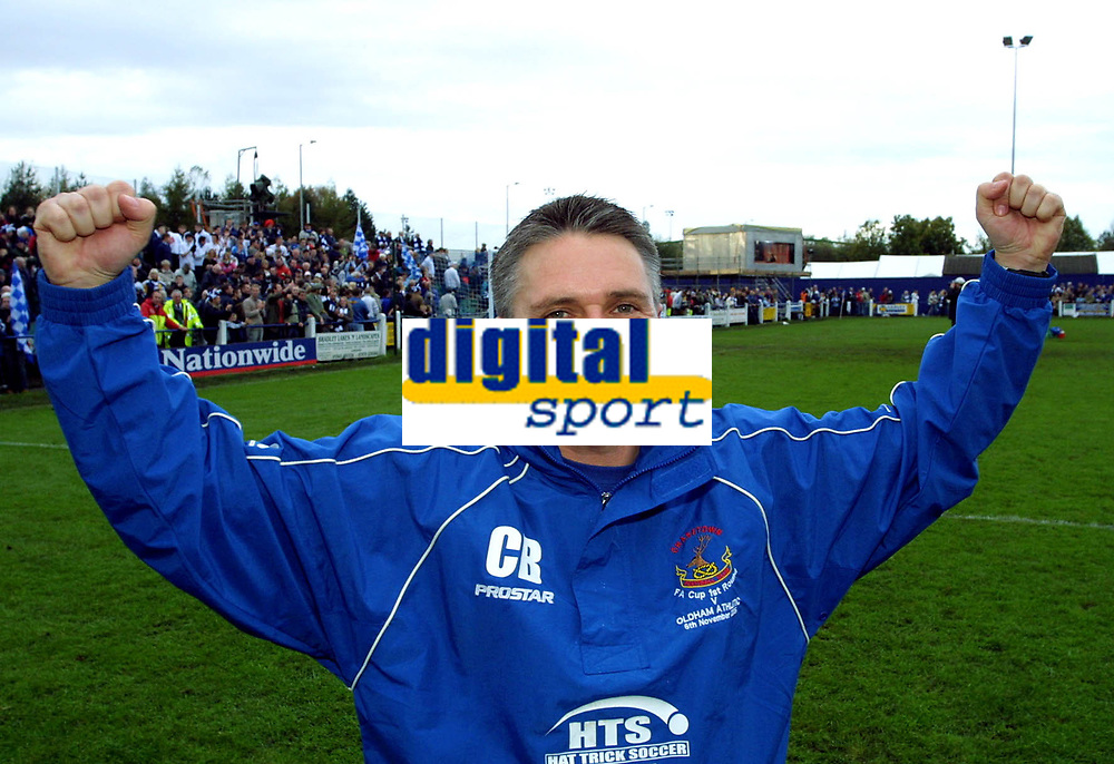 Photo: Dave Linney.<br />Chasetown v Oldham Athletic. The FA Cup. 06/11/2005.<br />Charlie Blakemore celebrates the draw with Oldham.