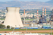 Israel, Haifa bay, View of the chimneys of the oil refinery. Haifa's industrial area is one of the largest sources of air pollution in the area,