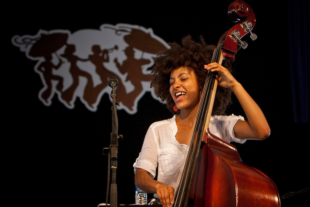 Jazz bassist and singer Esperanza Spalding performing on the WWOZ Jazz Tent stage at the New Orleans Jazz and Heritage Festival at the New Orleans Fair Grounds Race Course in New Orleans, Louisiana, USA, 1 May 2009.