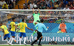 ROSTOV-ON-DON, June 17, 2018  Goalkeeper Alisson (top) of Brazil defends during a group E match between Brazil and Switzerland at the 2018 FIFA World Cup in Rostov-on-Don, Russia, June 17, 2018. (Credit Image: © Lu Jinbo/Xinhua via ZUMA Wire)