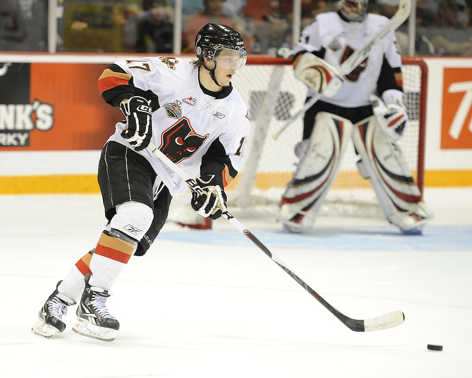 Giffen Nyren of the Calgary Hitmen in Game 4 of the 2010 MasterCard Memorial Cup in Brandon, MB on Monday May 17. Photo by Aaron Bell/CHL Images