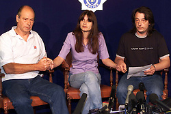 Sarah Payne, 8 year old girl missing..Press Conference - (L) Terry Payne (Grandfather), Michael Payne (Father) and (C) Sara Payne (Mother), July 5, 2000. Photo by Andrew Parsons / i-images..