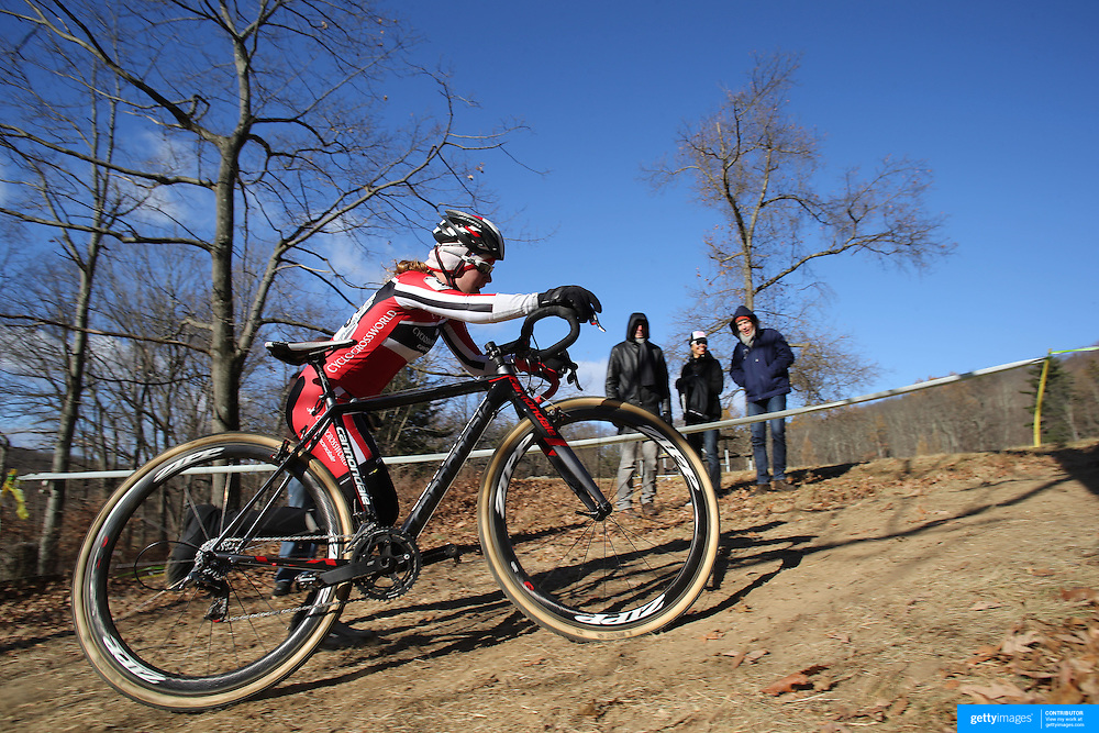 Emma White in action during the Cyclo-Cross, Supercross Cup 2013 UCI Weekend at the Anthony Wayne Recreation Area, Stony Point, New York. USA. 24th November 2013. Photo Tim Clayton