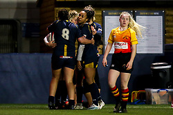Lydia Thompson of Worcester Warriors Women celebrates with teammates after scoring a try - Mandatory by-line: Robbie Stephenson/JMP - 11/01/2020 - RUGBY - Sixways Stadium - Worcester, England - Worcester Warriors Women v Richmond Women - Tyrrells Premier 15s