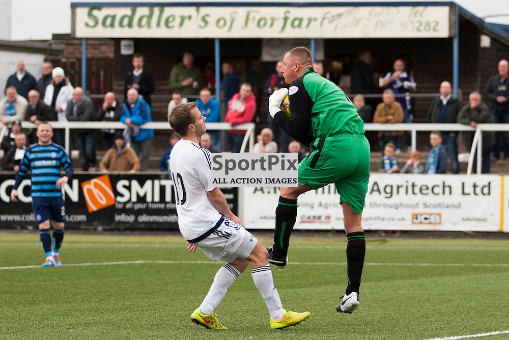 Veteran goalkeeper Rab Douglas gathers the ball during an Ayr attack in the Forfar Athletic v Ayr United Station Park, Forfar, 17 October 2015<br />