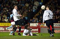 Photo: Scott Heavey, Digitalsport<br /> Aston Villa v Bolton Wanderers. Carling Cup Semi-final, second leg. 27/01/2004<br /> Jlloyd Samuel's late goal was not enough for Aston Villa to go through