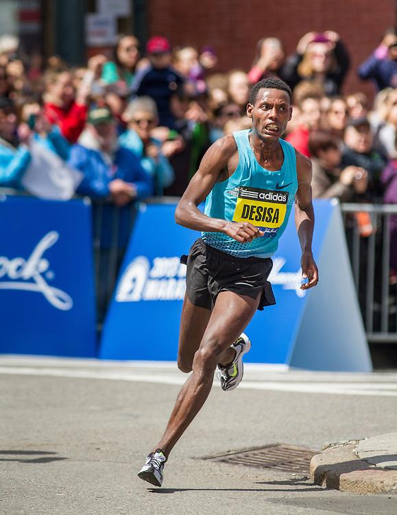 2013 Boston Marathon: mens winner Lelisa Desisa, Ethiopia,  turns into homestretch