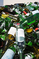 Pile of glass bottles