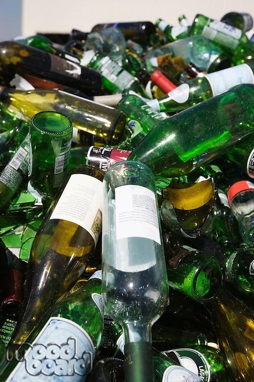 Pile of glass bottles