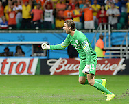 Tim Krul of Netherlands reacts after saving a penalty to win the 2014 FIFA World Cup match against Costa Rica at the Itaipava Arena Fonte Nova, Nazare, Bahia<br /> Picture by Stefano Gnech/Focus Images Ltd +39 333 1641678<br /> 05/07/2014