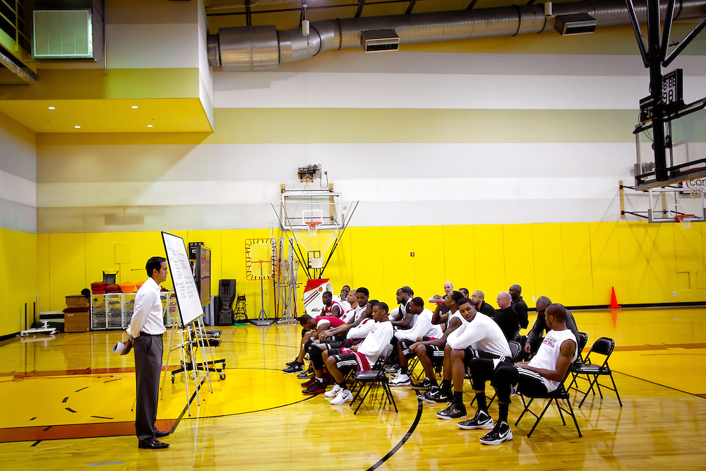 MIAMI, FL -- January 29, 2012 -- Miami head coach Erik Spoelstra gets ready to lead his team in a class in the Heat's practice gym prior to their 97-93 win over the Chicago Bulls at American Airlines Arena in Miami, Fla., on Sunday, January 29, 2012.  (Chip Litherland for ESPN the Magazine)
