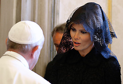 May 24, 2017 - Vatican City State (Holy See) - POPE FRANCIS meets MELANIA TRUMP, who is wearing a head covering at the Vatican.  (Credit Image: © Evandro Inetti via ZUMA Wire)