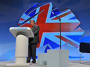 © Licensed to London News Pictures. 04/10/2011. MANCHESTER. UK. The Rt Hon Kenneth Clarke QC MP, Lord Chancellor, Secretary of State for Justice addresses The Conservative Party Conference at Manchester Central today, October 4, 2011. Photo credit:  Stephen Simpson/LNP