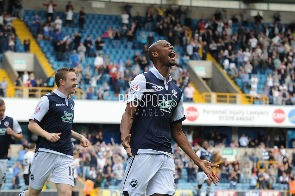 An ecstatic Jimmy Abdou celebrates his goal during the Sky Bet League 1 match between Millwall and Rochdale at The Den, London, England on 26 September 2015. Photo by Michael Hulf.