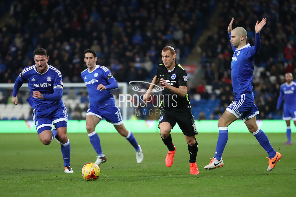 Brighton & Hove Albion central midfielder Steve Sidwell (14) during the EFL Sky Bet Championship match between Cardiff City and Brighton and Hove Albion at the Cardiff City Stadium, Cardiff, Wales on 3 December 2016.