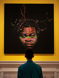 © Licensed to London News Pictures. 11/06/2019. London, UK. Yinka Shonibare's 'Self Portrait (after Warhol) 6, 2013' at the 'Get Up, Stand Up Now: Generations of Black Creative Pioneers' exhibition at Somerset House, London. This major new exhibition celebrates the past 50 years of Black creativity in Britain and beyond. Beginning with the radical Black filmmaker Horace Ové and his dynamic circle of Windrush generation creative peers and extending to today's brilliant young Black talent globally, a group of around 100 interdisciplinary artists are showcasing their work together for the first time, exploring Black experience and influence, from the post-war era to the present day. The exhibition opens on June 12, 2019 and runs until September 15, 2019.  Photo credit: Peter Macdiarmid/LNP