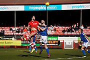 Ollie Palmer of Crawley Town puts pressure on Macclesfield Town early during the EFL Sky Bet League 2 match between Crawley Town and Macclesfield Town at The People's Pension Stadium, Crawley, England on 23 February 2019.