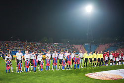 BUCHAREST, ROMANIA - Thursday, December 2, 2010: Liverpool's players line-up to face FC Steaua Bucuresti during the UEFA Europa League Group K match at the Stadionul Steaua. L-R: Joe Cole, Sotirios Kyrgiakos, Christian Poulsen, Jonjo Shelvey, Dani Pacheco, Milan Jovanovic, Danny Wilson, Fabio Aurelio, Martin Kelly, Ryan Babel, goalkeeper Jose Reina. (Pic by: David Rawcliffe/Propaganda)