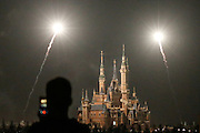 Mar 28, 2016 - Shanghai, China - Fireworks explode over Shanghai Disneyland park on March 28, 2016 in Shanghai, China. Shanghai Disneyland tested to set off the fireworks for the first time on Monday night.  <br /> (Credit Image: © Exclusivepix Media)