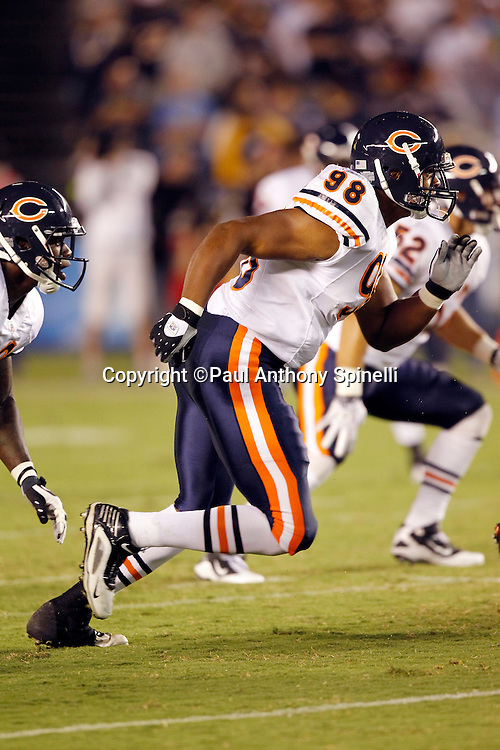 Chicago Bears rookie defensive end Corey Wootten (98) chases the action during a NFL week 1 preseason football game against the San Diego Chargers, Saturday, August 14, 2010 in San Diego, California. The Chargers won the game 25-10. (©Paul Anthony Spinelli)