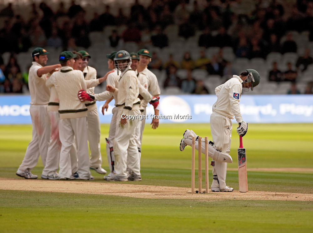 Salman Butt is annoyed with himself after being stumped on 92 by Tim Paine off Marcus North's first ball during the MCC Spirit of Cricket Test Match between Pakistan and Australia at Lord's.  Photo: Graham Morris (Tel: +44(0)20 8969 4192 Email: sales@cricketpix.com) 16/07/10