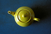 overhead view of yellow teapot