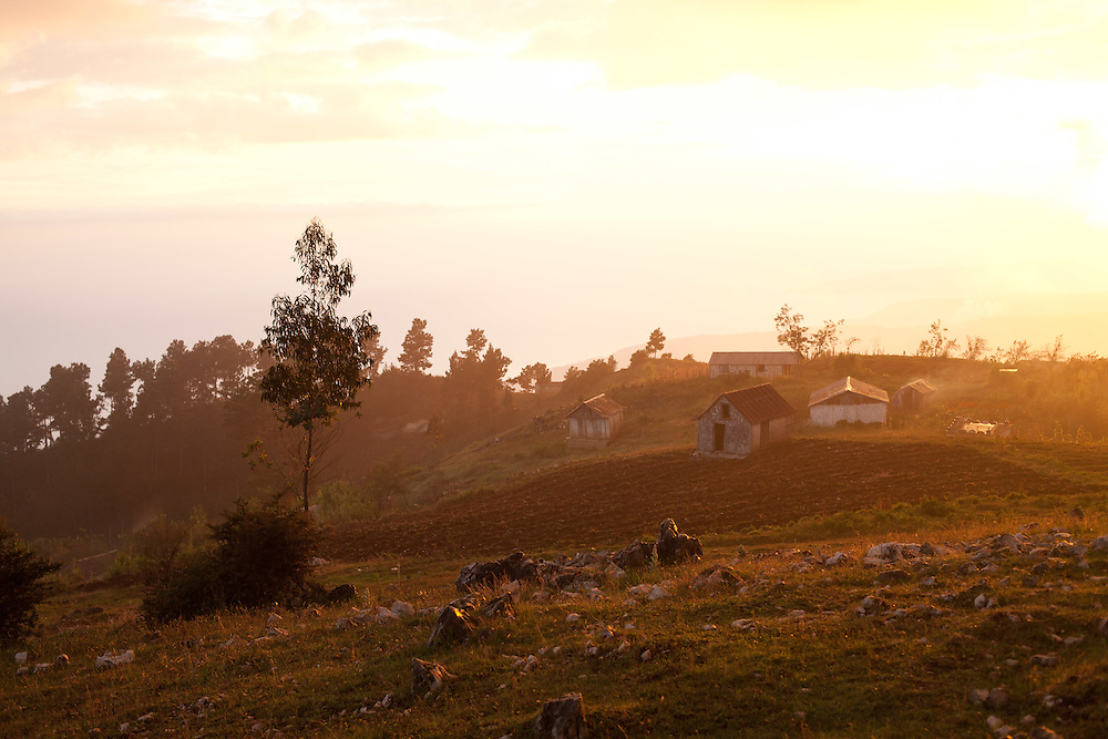 A small village on a mountain top.