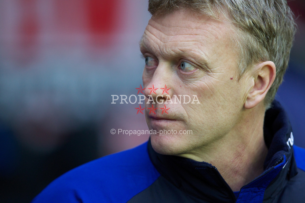 WIGAN, ENGLAND - Saturday, February 4, 2012: Everton's manager David Moyes before the Premiership match against Wigan Athletic at the DW Stadium. (Pic by Vegard Grott/Propaganda)