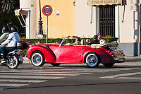 convertible red car in sevilla, spain