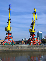 Recycled Cranes in Puerto Madero, Buenos Aires, Argentina, these cranes had been recycled, Puerto Madero is one the most popular tourist attractions in Buenos Aires