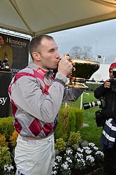 WAYNE HUTCHINSON jockey of the 2015 Hennessy Gold Cup winner Smad Place at the 2015 Hennessy Gold Cup held at Newbury Racecourse, Berkshire on 28th November 2015.