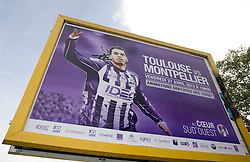 A general view of the matchday poster outside the ground. Toulouse v Montpellier HRC. Ligue 1, Stade Municipal, Toulouse, France, 27th April 2011.