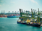 28 DECEMBER 2015 - SINGAPORE, SINGAPORE: The container port in Singapore. Singapore has become a major hub in international shipping.       PHOTO BY JACK KURTZ