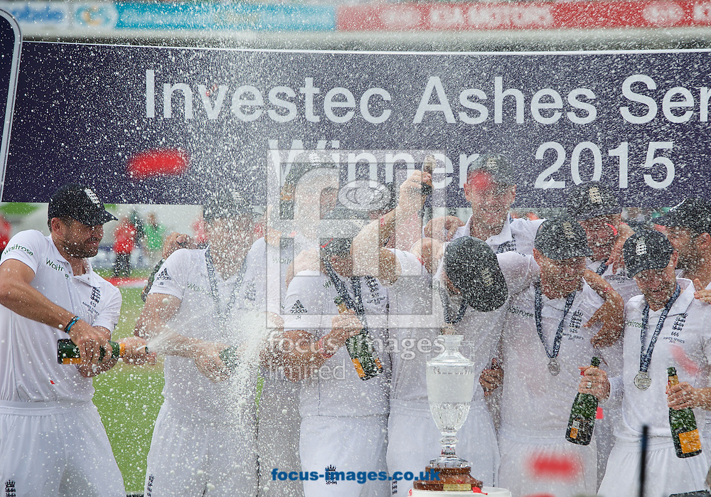 The Champagne flows over the England team after winning the series in the 5th Investec Ashes Test match at the Kia Oval, London<br /> Picture by Alan Stanford/Focus Images Ltd +44 7915 056117<br /> 23/08/2015