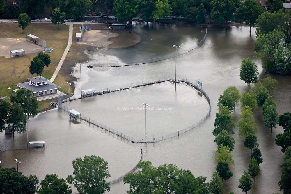 Aerial view of baseball diamonds at City Park after the 2008 Iowa flood along the Mississippi River.