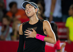 October 12, 2018 - Garbine Muguruza of Spain celebrates winning her quarter-final match at the 2018 Prudential Hong Kong Tennis Open WTA International tennis tournament (Credit Image: © AFP7 via ZUMA Wire)