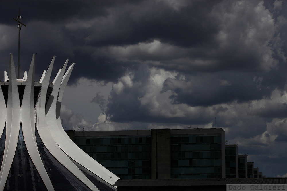 Brasilia's cathedral lines up with several ministries' buildings in Brazil, Thursday, Feb. 9, 2012. (Photo Dado Galdieri)