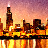 Digitial painting of Chicago skyline at night with Willis Tower (formerly Sears Tower) one of the world's tallest buildings.