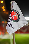 A general view of the Charlton Athletic corner flag inside The Valley Stadium prior to the EFL Sky Bet Championship match between Charlton Athletic and Hull City at The Valley, London, England on 13 December 2019.