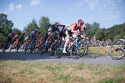 Claudia Lichtenberg (GER) of Lotto Soudal Cycling Team leans into a corner in the third lap of the 121.5 km road race of the UCI Women's World Tour's 2016 Grand Prix Plouay women's road cycling race on August 27, 2016 in Plouay, France. (Photo by Balint Hamvas/Velofocus)