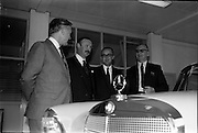 03/06/1964<br /> 06/03/1964<br /> 03 June 1964<br /> Mercedes introduce new cars to the Irish Market at a reception held at Ballsbridge Motors Ltd., Dublin. The cars were the Mercedes benz Type 220SE de Luxe and Type 190C Automotive. Picture shows (l-r): Mr. T. Andrews, General manager  Ballsbridge Motors Ltd.; Mr. P.J. Moylett, General Sales Manager, Ballsbridge Motors Ltd.; Mr. M. O'Flaherty, Director Ballsbridge Motors Ltd. and Mr. F. Wyse, Managing Director, Central Garage, Parnell Place, Cork, with one of the new cars in the showroom.