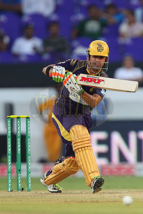 Gautam GAMBHIR (Captain) of the Kolkata Knight Riders  during the first semi final match of the Oppo Champions League Twenty20 between the Kolkata Knight Riders and the Hobart Hurricanes held at the Rajiv Gandhi Cricket Stadium, Hyderabad, India on the 2nd October 2014<br /> <br /> Photo by:  Ron Gaunt / Sportzpics/ CLT20<br /> <br /> <br /> Image use is subject to the terms and conditions as laid out by the BCCI/ CLT20.  The terms and conditions can be downloaded here:<br /> <br /> http://sportzpics.photoshelter.com/gallery/CLT20-Image-Terms-and-Conditions-2014/G0000IfNJn535VPU/C0000QhhKadWcjYs