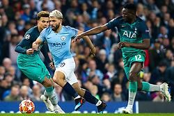 Sergio Aguero of Manchester City goes past Victor Wanyama of Tottenham Hotspur - Mandatory by-line: Robbie Stephenson/JMP - 17/04/2019 - FOOTBALL - Etihad Stadium - Manchester, England - Manchester City v Tottenham Hotspur - UEFA Champions League Quarter Final 2nd Leg