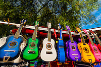 Colorful guitars outside a shop in Old Town, San Diego, California USA.