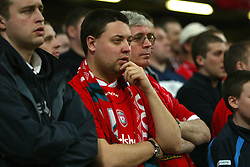 CARDIFF, WALES - Sunday, March 2, 2003: Liverpool's fans during the Football League Cup Final against Manchester United at the Millennium Stadium. (Pic by David Rawcliffe/Propaganda)