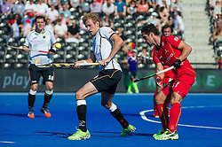 Germany's Niklas Wellen controls a lifted ball. Belgium v Germany - Unibet EuroHockey Championships, Lee Valley Hockey & Tennis Centre, London, UK on 22 August 2015. Photo: Simon Parker