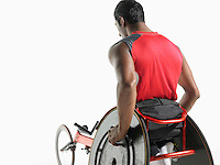 Paraplegic cycler back view