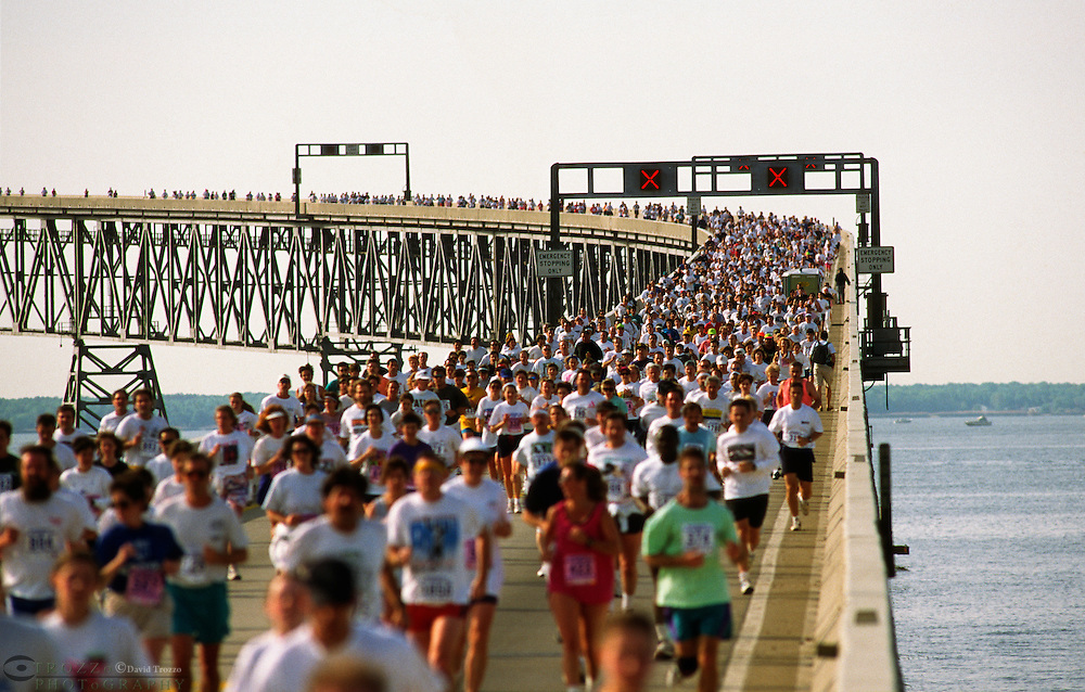 Annapolis, Maryland--The Annual Bay Bridge Walk and Governor's Bay Bridge Run afford an opportunity to cross the Chesapeake Bay Bridge on foot. The Chesapeake Bay Bridge is a major bridge in the state of Maryland; spanning  5 miles across the Chesapeake Bay, it connects the state's Eastern and Western Shore regions.